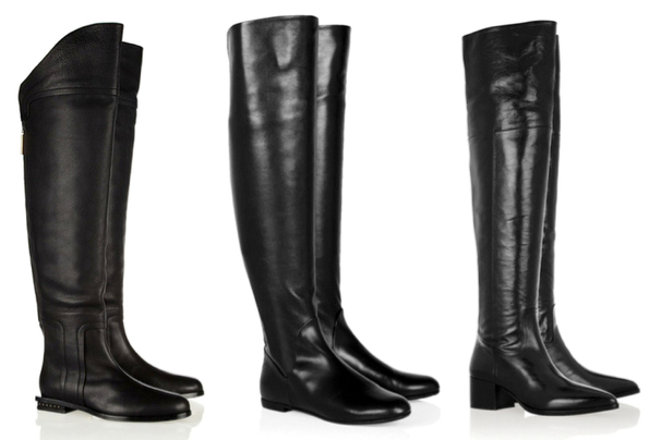 MAIYET Textured-leather over-the-knee boots, 920€ - GIUSEPPE ZANOTTI Rabbit-lined leather over-the-knee boots, 1.075€ - MIU MIU Polished-leather over-the-knee boots, 850€