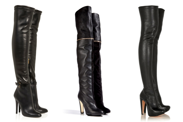 JIMMY CHOO Tamba stretch-leather over-the-knee boots, 1.295€ - VIONNET Suede/Leather Over-The-Knee Boots in Black, 1.350€ - ROLAND MOURET Motabor stretch-leather over-the-knee boots, 1.125€