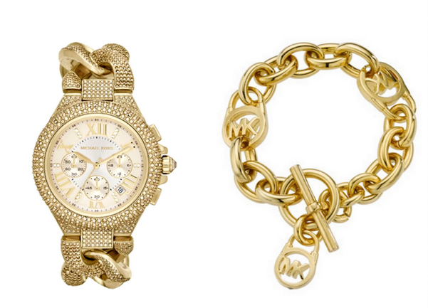 Michael Kors Mid-Size Golden Stainless Steel Twisted Camille Three-Hand Glitz Watch, $550 - Michael Kors Logo-Lock Charm Bracelet, $95