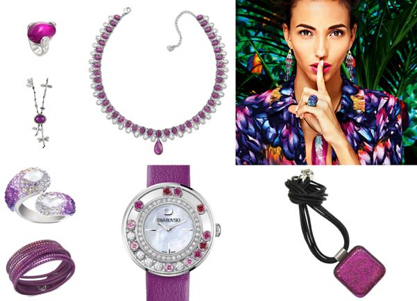 JOYAS - UNO de 50 Anillo Deseos de Tentación, 59€ - UNO de 50 Collar Sobrevolando, 139€ - SWAROVSKI Spectacular Ruby Gargantilla, 349€ - SWAROVSKI Anillo Trema, 149€ - SWAROVSKI Pulsera Slake Fuchsia Ruby, 59€ - SWAROVSKI Reloj Lovely Crystals magenta, 395€ - MATXI GLASS DESIGN Collar DICRA Rosa, 70€
