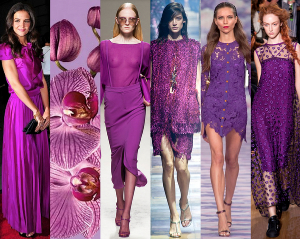 KATIE HOLMES - RADIANT ORCHID - MAX MARA - LANVIN - HOUSE OF HOLLAND - GILES